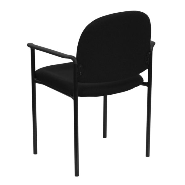 Guest Office Chair Black Fabric Stack Chair