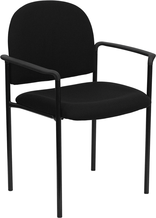 Wholesale Comfort Black Fabric Stackable Steel Side Reception Chair with Arms
