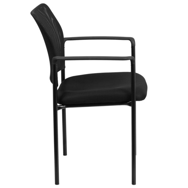 Lowest Price Comfort Black Mesh Stackable Steel Side Chair with Arms