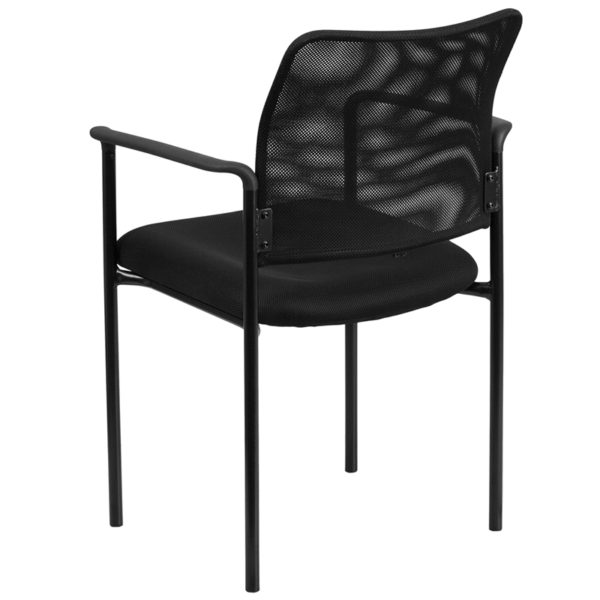 Contemporary Side Chair Black Mesh Side Chair w/ Arms