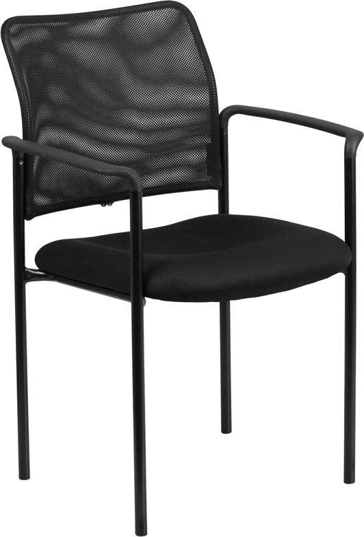 Wholesale Comfort Black Mesh Stackable Steel Side Chair with Arms