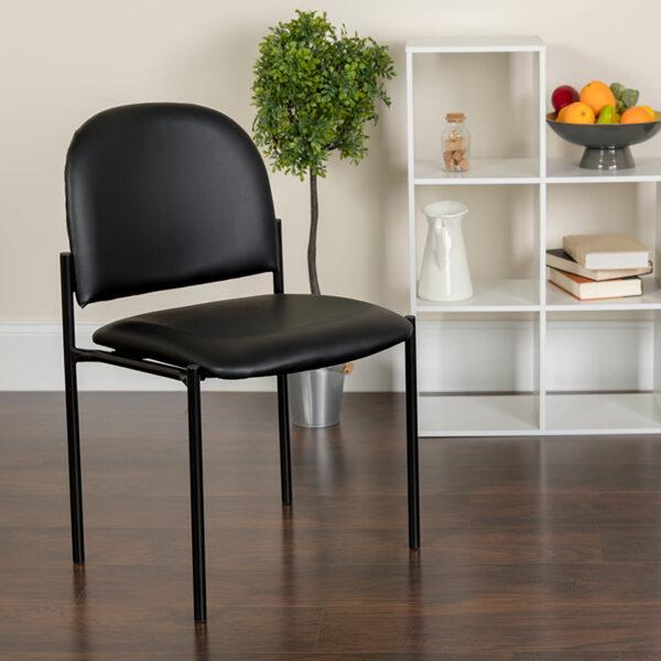 Lowest Price Comfort Black Vinyl Stackable Steel Side Reception Chair