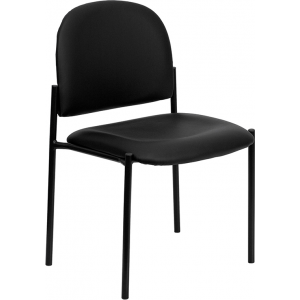 Wholesale Comfort Black Vinyl Stackable Steel Side Reception Chair