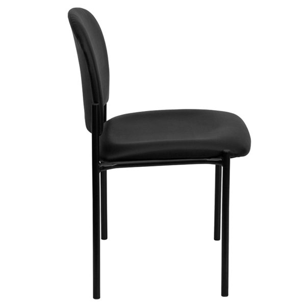 Guest Office Chair Black Vinyl Stack Chair