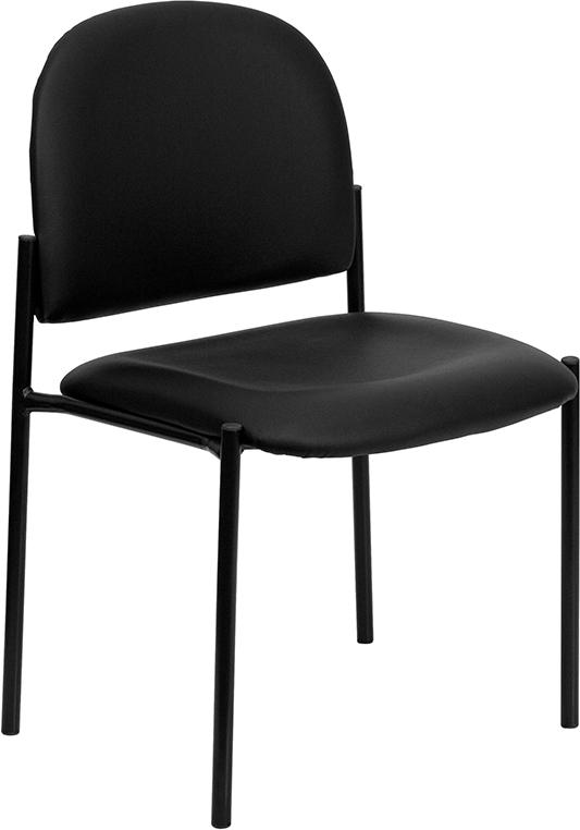 Wholesale Comfort Black Vinyl Stackable Steel Side Reception Chair