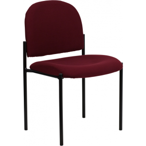 Wholesale Comfort Burgundy Fabric Stackable Steel Side Reception Chair