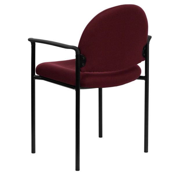 Guest Office Chair Burgundy Fabric Stack Chair