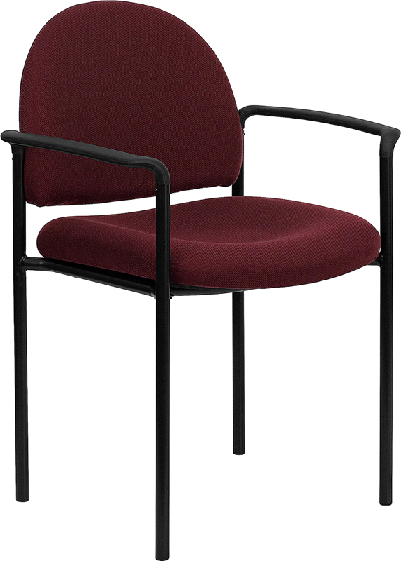 Wholesale Comfort Burgundy Fabric Stackable Steel Side Reception Chair with Arms
