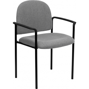 Wholesale Comfort Gray Fabric Stackable Steel Side Reception Chair with Arms