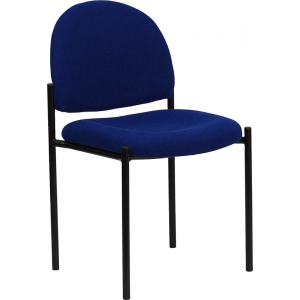 Wholesale Comfort Navy Fabric Stackable Steel Side Reception Chair