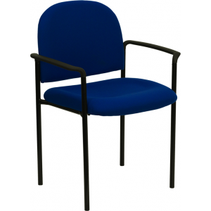 Wholesale Comfort Navy Fabric Stackable Steel Side Reception Chair with Arms