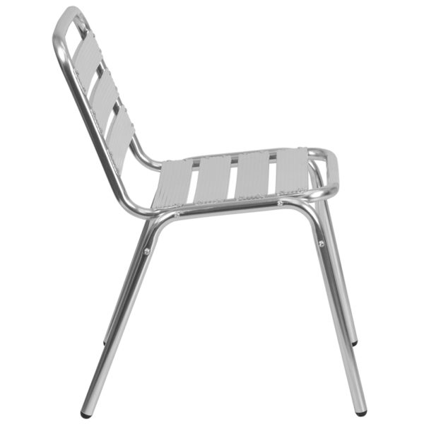Lowest Price Commercial Aluminum Indoor-Outdoor Restaurant Stack Chair with Triple Slat Back