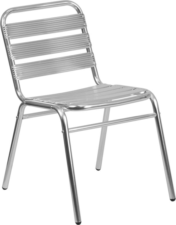 Wholesale Commercial Aluminum Indoor-Outdoor Restaurant Stack Chair with Triple Slat Back