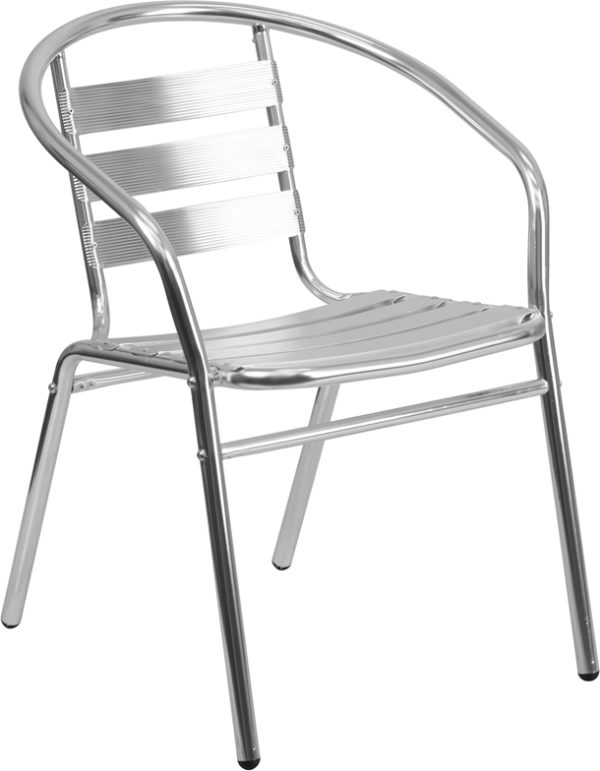 Wholesale Commercial Aluminum Indoor-Outdoor Restaurant Stack Chair with Triple Slat Back and Arms
