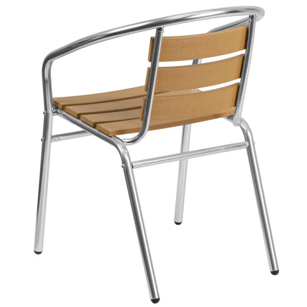 Stackable Cafe Chair Aluminum Teak Back Chair