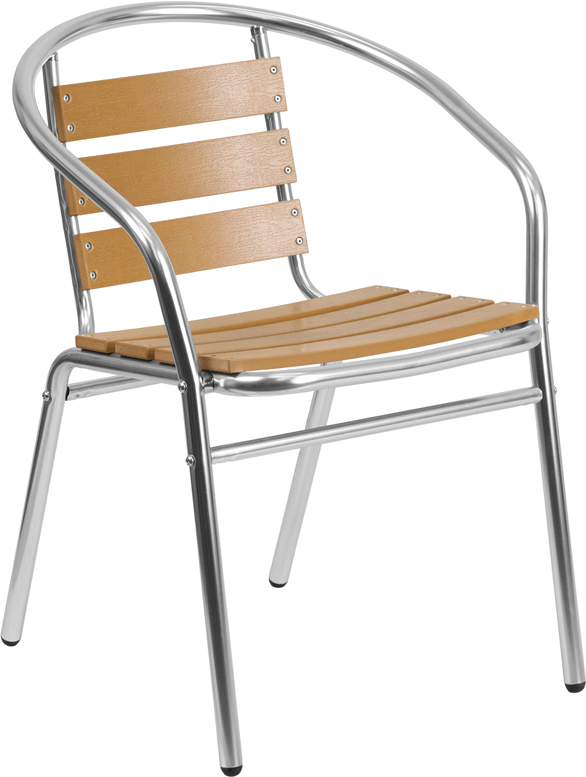 Wholesale Commercial Aluminum Indoor-Outdoor Restaurant Stack Chair with Triple Slat Faux Teak Back