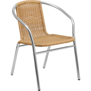 Wholesale Commercial Aluminum and Beige Rattan Indoor-Outdoor Restaurant Stack Chair