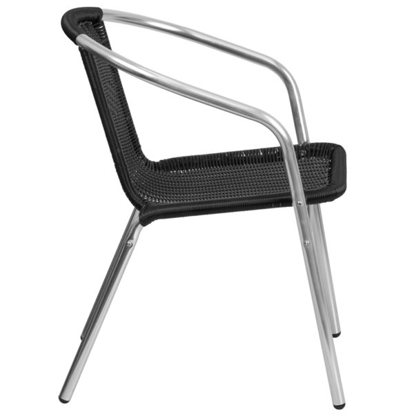 Lowest Price Commercial Aluminum and Black Rattan Indoor-Outdoor Restaurant Stack Chair
