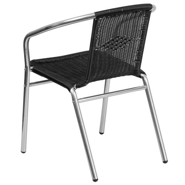 Stackable Cafe Chair Black Rattan Aluminum Chair