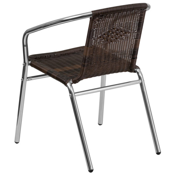 Stackable Cafe Chair Brown Rattan Aluminum Chair