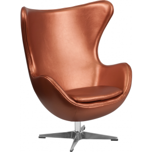 Wholesale Copper Leather Egg Chair with Tilt-Lock Mechanism