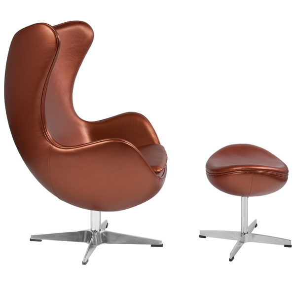 Lowest Price Copper Leather Egg Chair with Tilt-Lock Mechanism and Ottoman