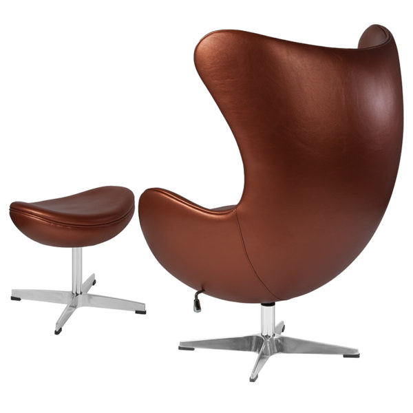 Chair and Ottoman Set Copper Leather Egg Chair/OTT