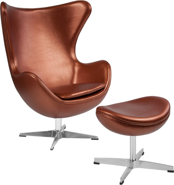 Wholesale Copper Leather Egg Chair with Tilt-Lock Mechanism and Ottoman
