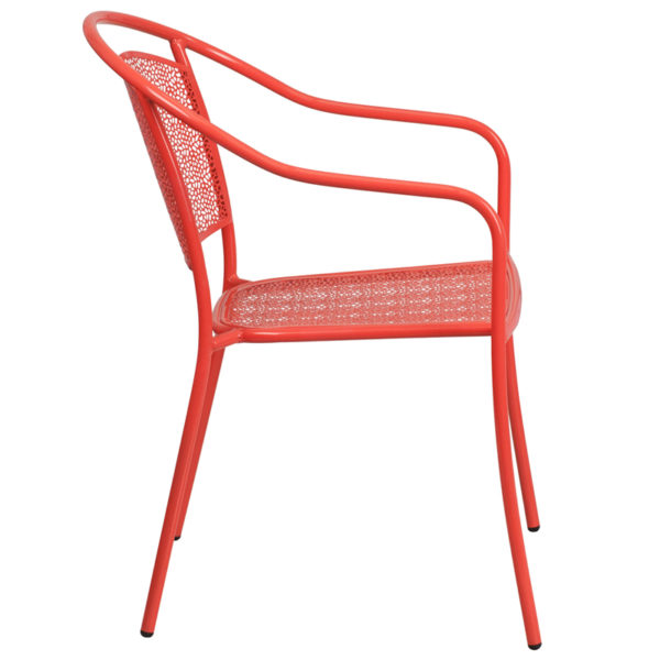Lowest Price Coral Indoor-Outdoor Steel Patio Arm Chair with Round Back