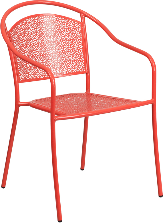 Wholesale Coral Indoor-Outdoor Steel Patio Arm Chair with Round Back