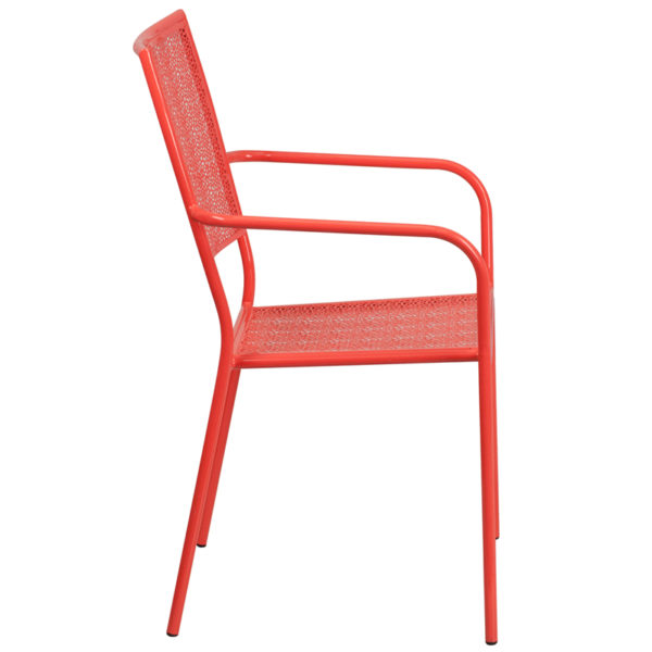 Lowest Price Coral Indoor-Outdoor Steel Patio Arm Chair with Square Back