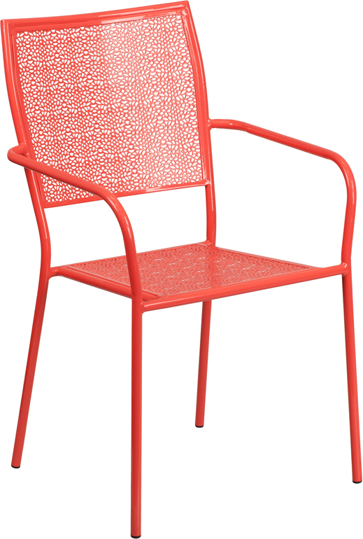 Wholesale Coral Indoor-Outdoor Steel Patio Arm Chair with Square Back