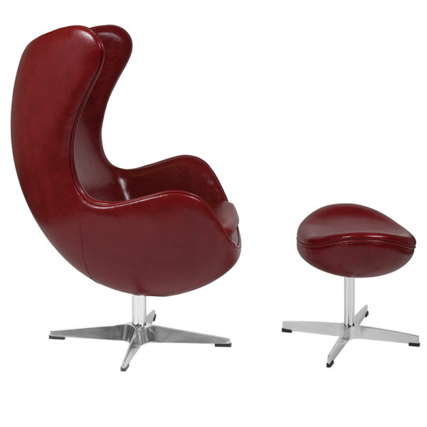 Lowest Price Cordovan Leather Egg Chair with Tilt-Lock Mechanism and Ottoman