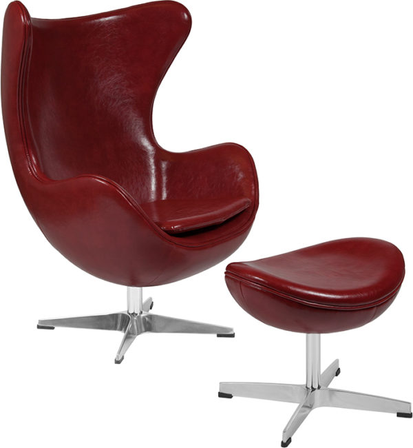 Wholesale Cordovan Leather Egg Chair with Tilt-Lock Mechanism and Ottoman