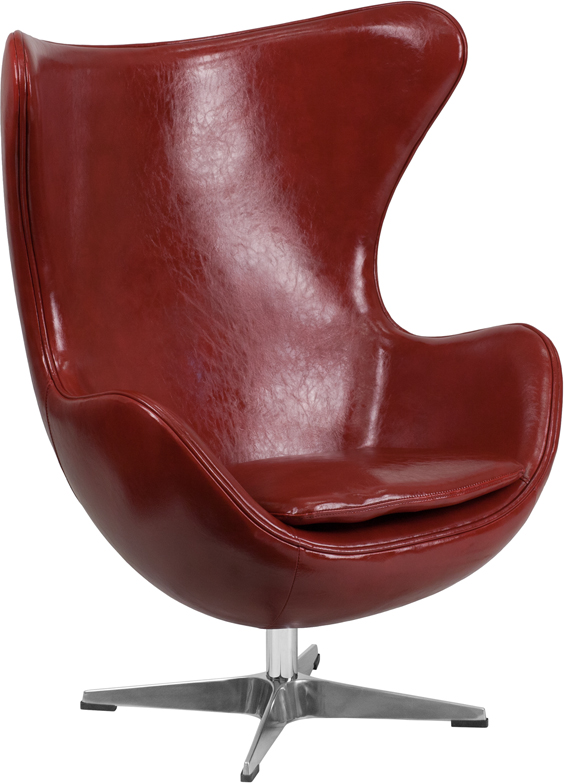 Wholesale Cordovan Leather Egg Chair with Tilt-Lock Mechanism