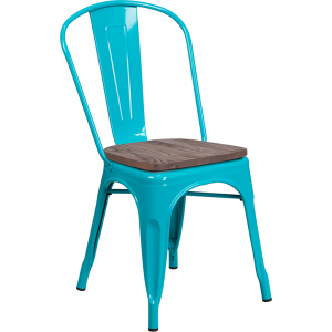 Wholesale Crystal Teal-Blue Metal Stackable Chair with Wood Seat
