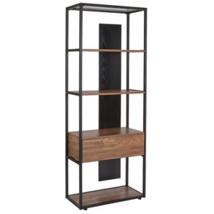 "Wholesale Cumberland Collection 4 Shelf 65.75""H Bookcase with Drawer in Rustic Wood Grain Finish"