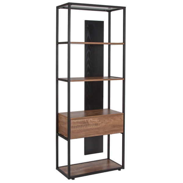 """Wholesale Cumberland Collection 4 Shelf 65.75""""H Bookcase with Drawer in Rustic Wood Grain Finish"""
