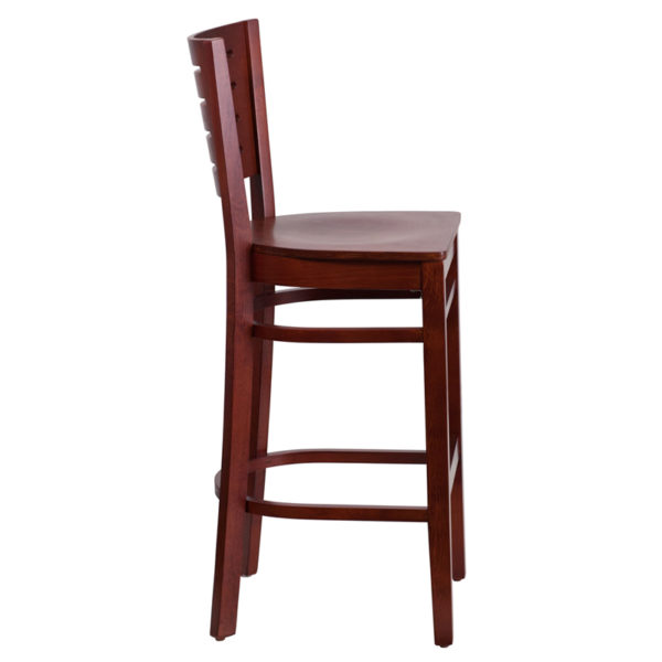 Lowest Price Darby Series Slat Back Mahogany Wood Restaurant Barstool