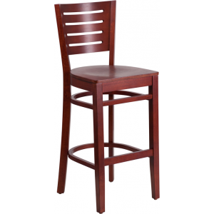 Wholesale Darby Series Slat Back Mahogany Wood Restaurant Barstool