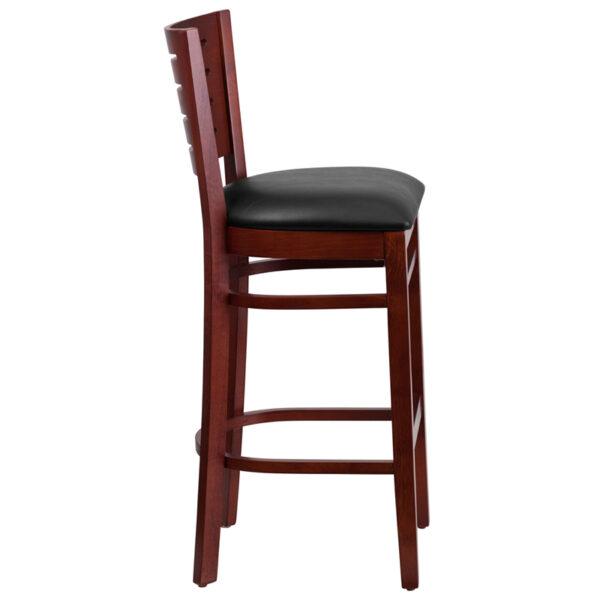 Lowest Price Darby Series Slat Back Mahogany Wood Restaurant Barstool - Black Vinyl Seat