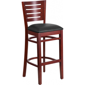 Wholesale Darby Series Slat Back Mahogany Wood Restaurant Barstool - Black Vinyl Seat