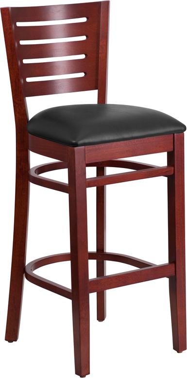 Wholesale Darby Series Slat Back Mahogany Wood Restaurant Barstool - Black Vinyl Seat
