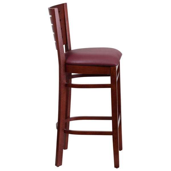 Lowest Price Darby Series Slat Back Mahogany Wood Restaurant Barstool - Burgundy Vinyl Seat