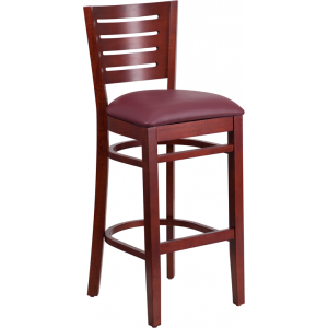 Wholesale Darby Series Slat Back Mahogany Wood Restaurant Barstool - Burgundy Vinyl Seat