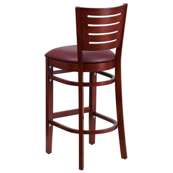 Wood Dining Bar Stool Mahogany Wood Stool-Burg Vinyl