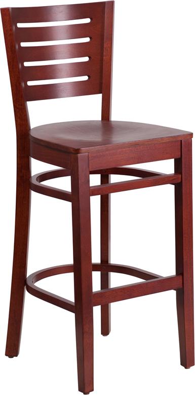 Wholesale Darby Series Slat Back Mahogany Wood Restaurant Barstool
