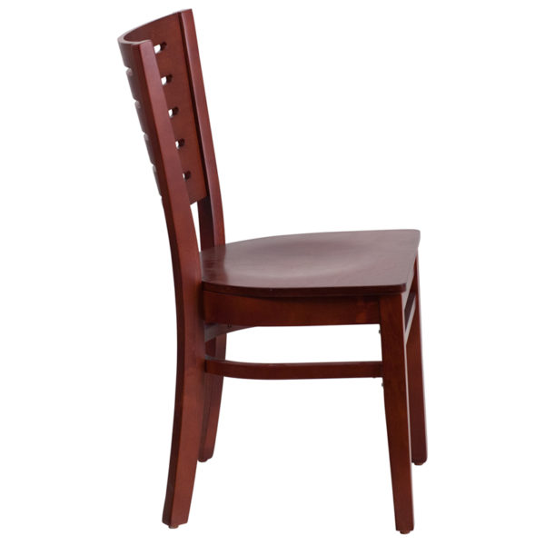 Lowest Price Darby Series Slat Back Mahogany Wood Restaurant Chair