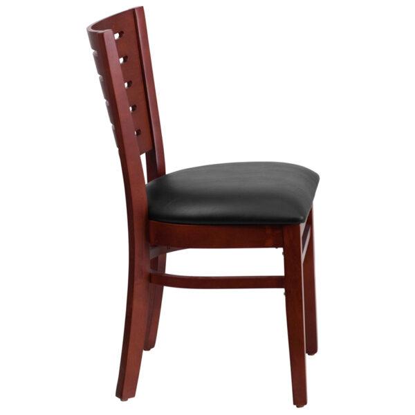 Lowest Price Darby Series Slat Back Mahogany Wood Restaurant Chair - Black Vinyl Seat