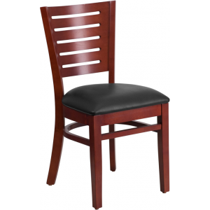 Wholesale Darby Series Slat Back Mahogany Wood Restaurant Chair - Black Vinyl Seat